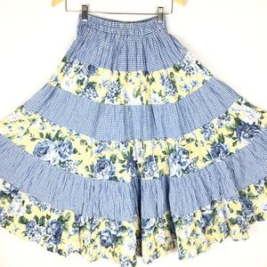 Vintage 70's broomstick cotton midi skirt size S